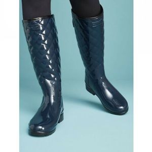 NEW Hunter Refined Gloss Quilted Rain Boots - 7